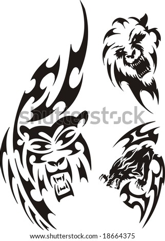 stock vector Bear wolf and lion Tribal predators