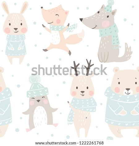 Bear, wolf, reindeer, hare, fox, penguin baby winter seamless pattern. Cute animal Christmas background. Scandinavian design for nursery, t-shirt, kids apparel, wrapping paper, New year textile