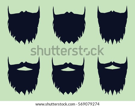 Beard and Mustache in Vector Men's Set, made in Flat Style on Light Background. Concept of Popular Seamless Pattern.