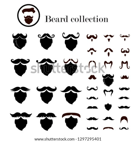 Beard collection,Mustache collection,vector illustration design.