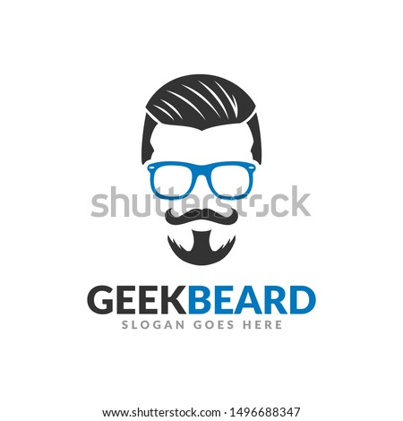 Beard geek logo design template, hipster glasses mustache