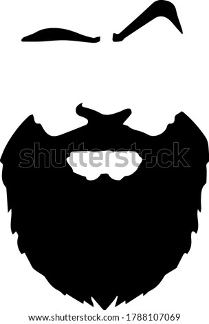 Beard, moustache and eye brows silhouette of male face, textured doodle for barber shop logo, fashion for men icon, hand drawn gentleman grooming vector illustration, fathers day or men's day november Stock photo ©