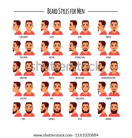 Beard styles for men icon set. Vector illustration isolated on white background. Logo, label, emblem design elements. #1161020884