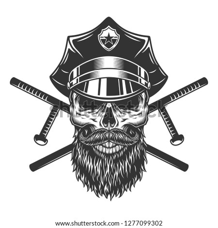 Bearded and mustached policeman skull with crossed police batons in vintage style isolated vector illustration