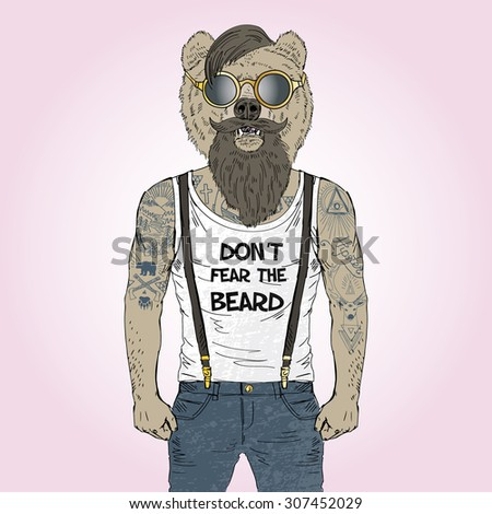 bearded bear hipster with