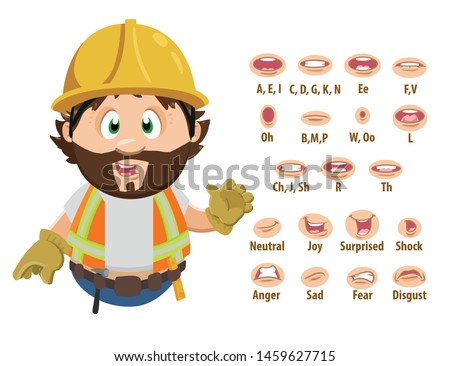 Bearded builder, foreman in hardhat shows to set of mouth, teeth positions. Lip sync emotions collection. Can be used for animation. Cartoon vector illustration isolated on white background.