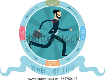 Stock Photo bearded business man with suitcase run inside life circle with inscription born, learn, work, die. flat style simple vector illustration
