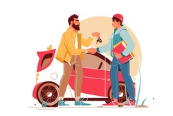 Bearded businessman giving keys to young man making car deal. Concept handsome male character near urban modern vehicle hand shaking. Vector illustration.