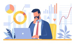 Bearded businessman sitting in office and analyzing data on his laptop. Data science, scientific research, workflow concept. Business charts and diagrams. Flat cartoon vector illustration