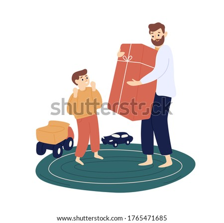 Bearded father hold big gift box for cute son vector flat illustration. Male parent give holiday present to joyful kid isolated on white background. Smiling dad making surprise to happy child boy