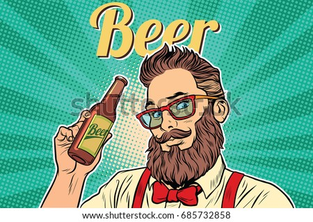 bearded hipster beer. Pop art retro vector illustration