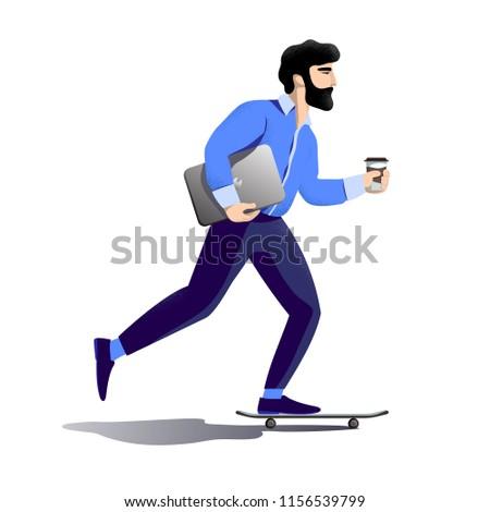 bearded hipster businessman