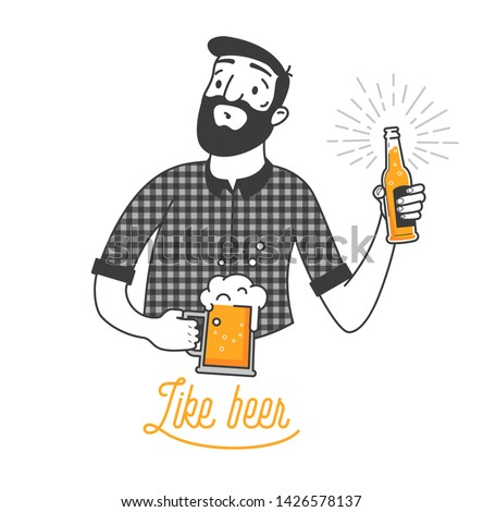 Bearded man drinking cold beer vector illustration and like beer typography design. Hipster man with beard holding a glass and a bottle beer. Clean flat design for bar and menu design. Best beer ever