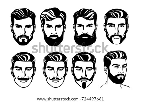 Bearded Man head silhouette vector illustration. Isolated on background. Modern hairstyle. Male face for barber shop or salon logo. Different kinds of beard and mustache.
