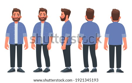Bearded man in casual clothes. The guy is view from the front, from the side and from the back. Vector illustration in cartoon style