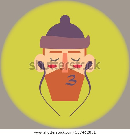 bearded man listen to music