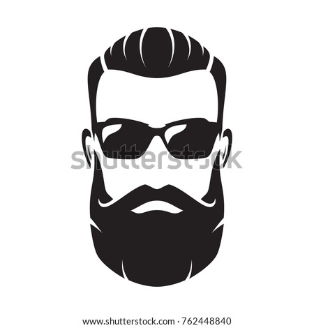 Bearded man's face, hipster character. Fashion silhouette, avatar, emblem, icon, label. Vector illustration.