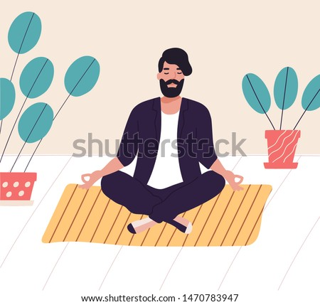 Bearded man sitting with his legs crossed on floor and meditating. Young man in yoga posture doing meditation, mindfulness practice, spiritual discipline at home. Flat cartoon vector illustration.