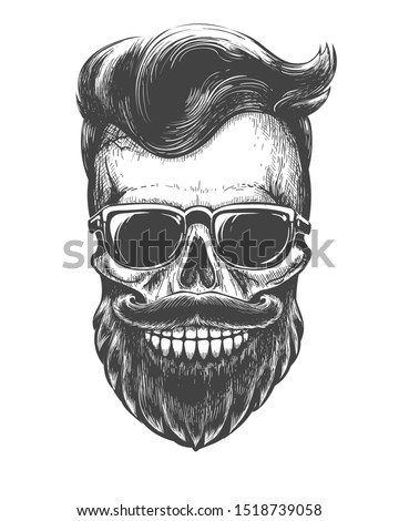Bearded skull face tattooed. Skeleton head with mustache, beard and sunglasses black vector illustration for barber shop hair fashion salon or mustaches men party