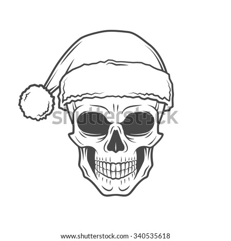 Stock Photo Bearded Skull Santa Claus with candy canes and glasses poster. Vintage Christmas old man portrait. X-mas t-shirt illustration.