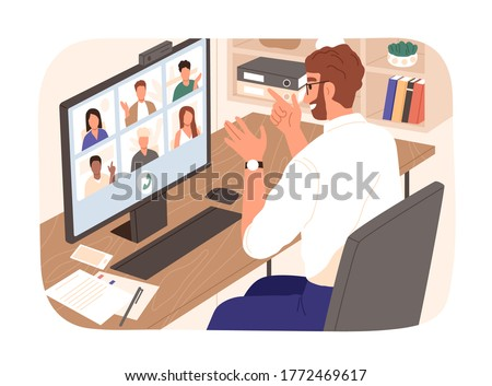 Bearded smiling guy talking with colleagues during videoconference vector illustration. People having corporate video call isolated. Man and woman discussing work enjoying online communication