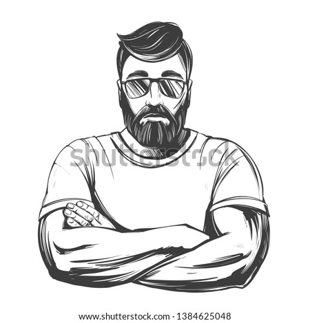 Bearded strong man hand drawn vector illustration realistic sketch