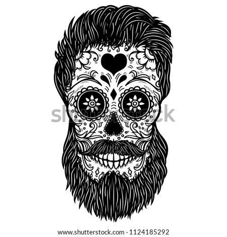 Bearded sugar skull. Design element for poster, card, print, emblem, sign. Vector image