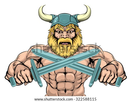 bearded viking warrior mascot