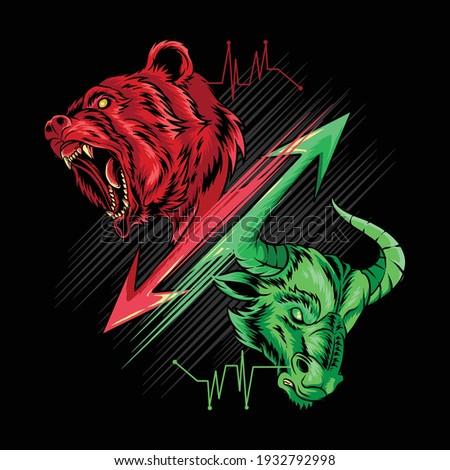 bearish and bullish in stock market science, gold, money and crypto Photo stock ©