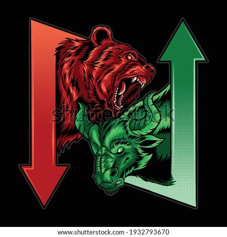 bearish and bullish in the science of stock market economics Photo stock ©