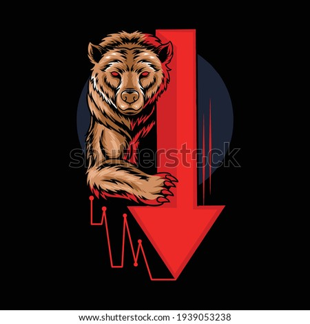 bearish bear in stock trading graphics, crypto, forex which shows a downtrend Photo stock ©
