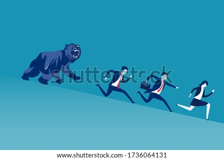 Bearish market vector concept: Angry bear chasing after business people running downhill Foto d'archivio ©