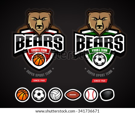 bears sport logo team template