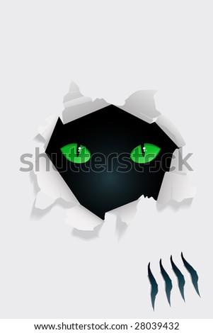beast eyes through torn paper