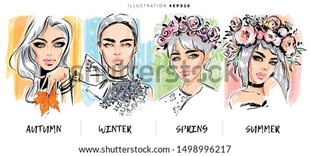 Beatiful woman model faces makeup illustration. Autumn, winter, spring and summer beauty look. Fashion sketch set of stylish glamour girls.