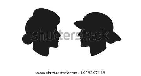 Beau Monde Woman in a Pillbox hat and Lady in a Wide Brim Hat head silhouette set. Vector illustration. Stock fotó ©