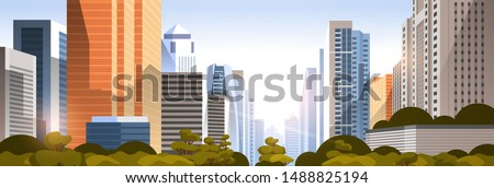 beautifil city on sunset panorama skyline high skyscrapers modern cityscape background flat horizontal