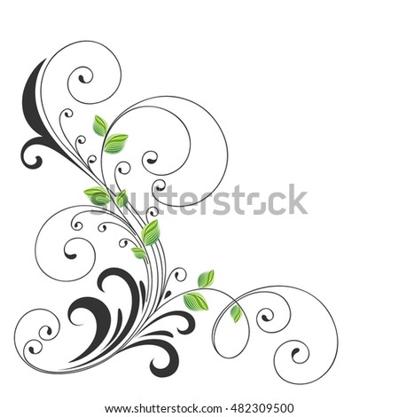 Beautiful abstract background. Vector illustration. Floral element for design with green leaves .