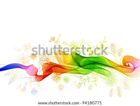 Beautiful abstract background with flowers and birds,vector illustration