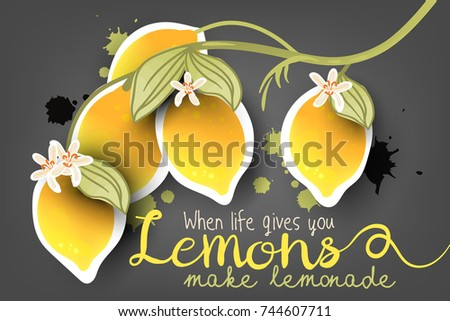 Beautiful, Abstract, Bright, Fresh Paper Cut Out (cutout) Lemon Branch With