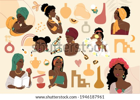 Beautiful abstract collection of African American woman. Vector illustration isolated. Portrait of girls for avatars. Abstract elements Foto stock ©