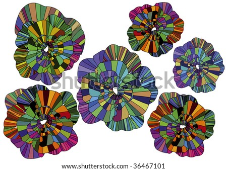 beautiful abstract colored flowers on a white background