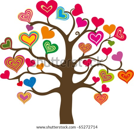 beautiful abstract heart tree on white background