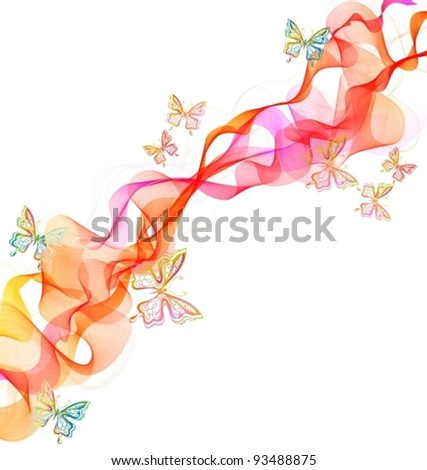 Beautiful abstract illustration with butterfly over white, vector