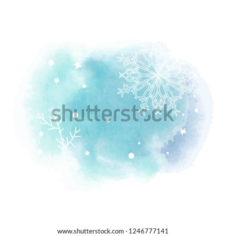 Beautiful abstract template with blue set gentle winter backgrounds on light background. Vector abstract, blue, snowflake background.