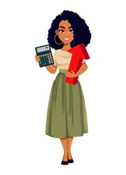 Beautiful African American business woman holding calculator and red arrow. Cute African-American businesswoman cartoon character. Vector illustration on white background
