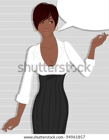 Beautiful african american business woman standing near blank speech bubble on gray striped background.