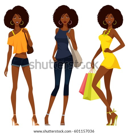 beautiful African American girls in colorful summer fashion