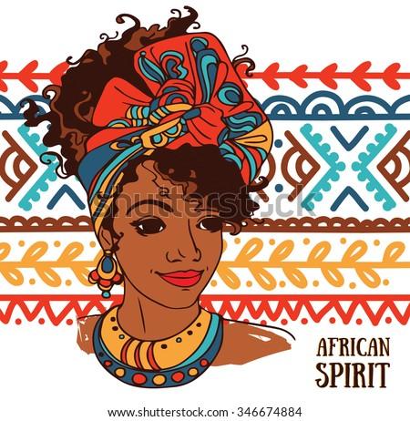 beautiful African American woman on beautiful ornament,