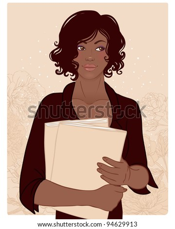 Beautiful African American woman with books